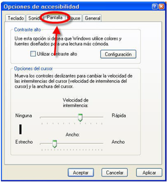 imagen Discapacidad visual configuración en windows de Opciones de accesibilidad